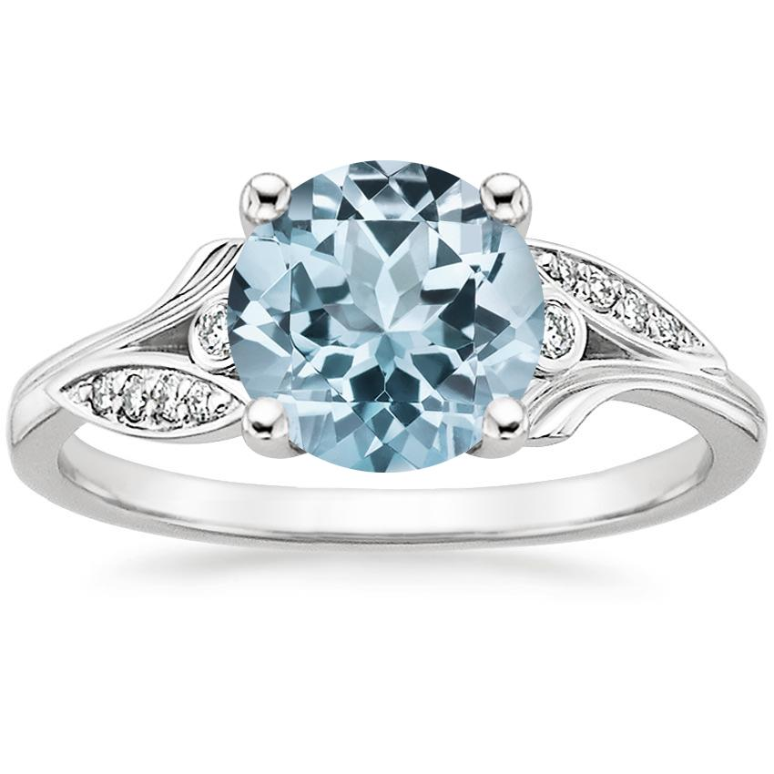 Aquamarine Jasmine Diamond Ring in 18K White Gold