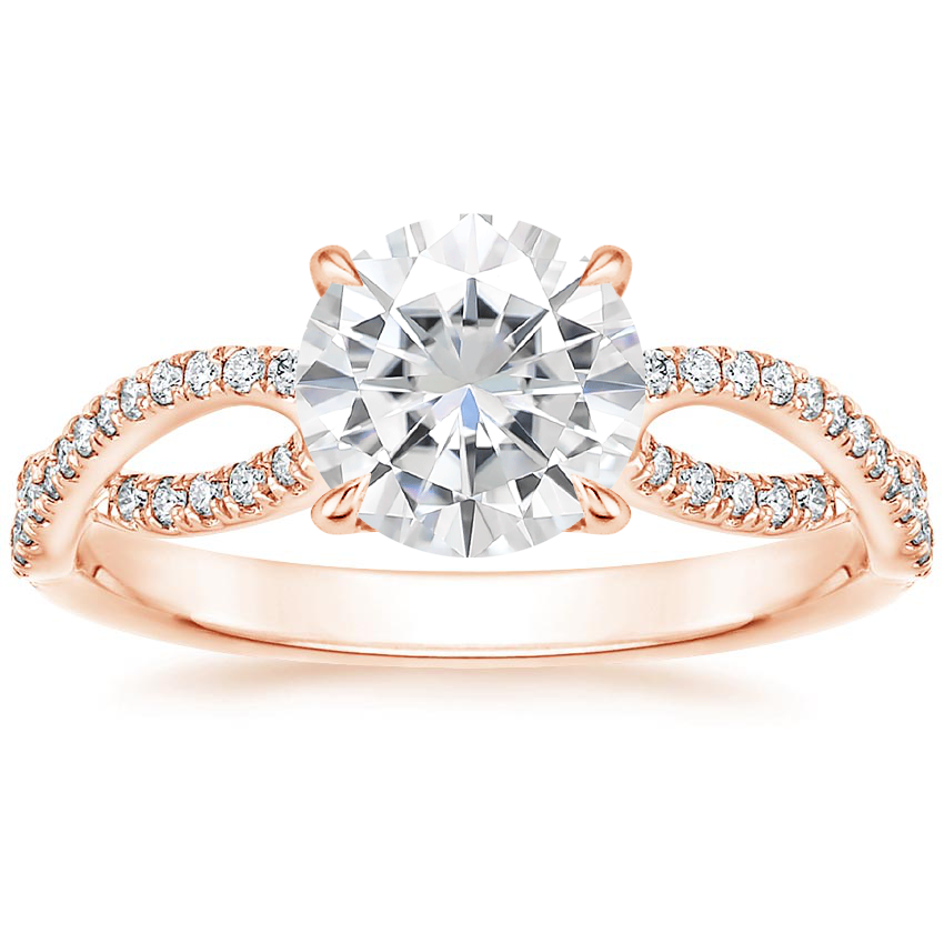 Rose Gold Moissanite Cascade Diamond Ring