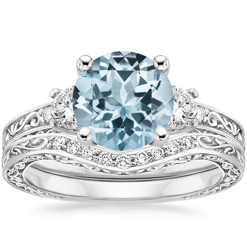 18KW Aquamarine Antique Scroll Three Stone Trellis Diamond Bridal Set, top view
