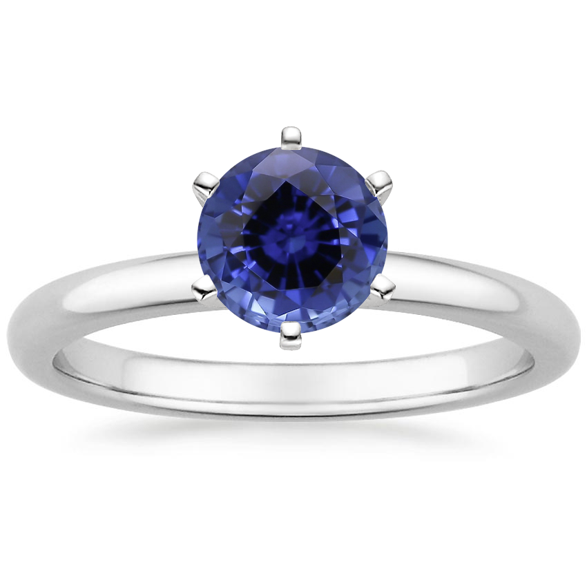 Sapphire Six-Prong 2mm Comfort Fit Ring in 18K White Gold