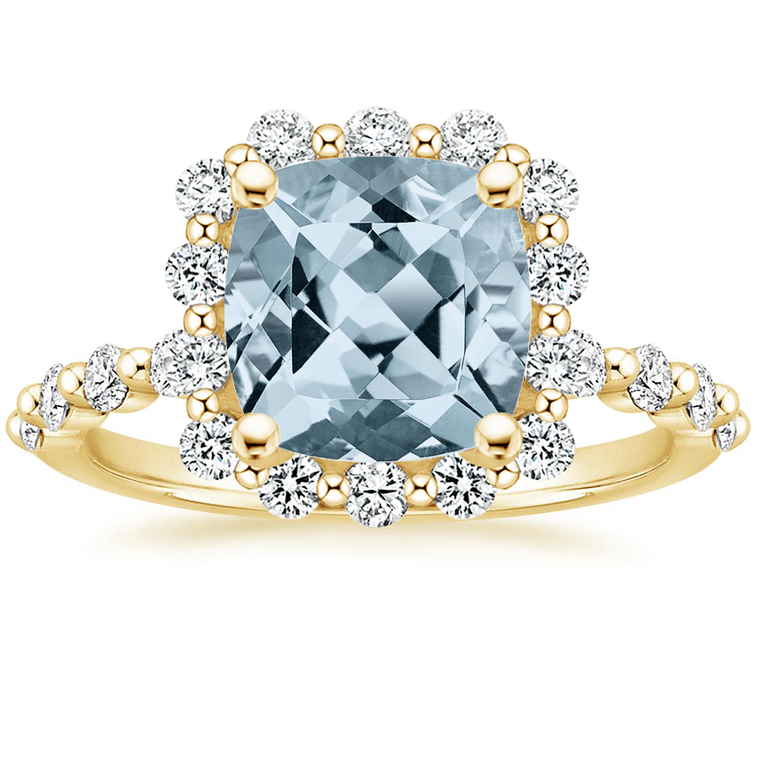Yellow Gold Aquamarine Marseille Halo Diamond Ring (1/2 ct. tw.)