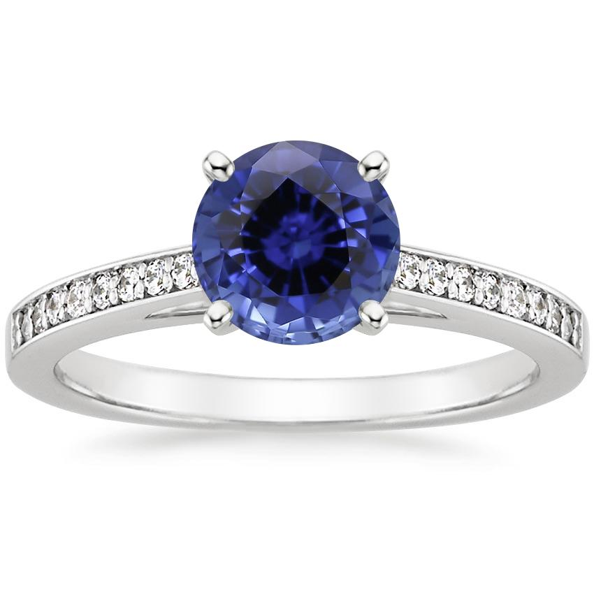 Sapphire Starlight Diamond Ring in 18K White Gold
