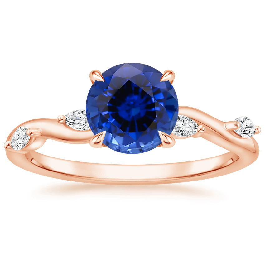 Rose Gold Sapphire Winding Willow Diamond Ring