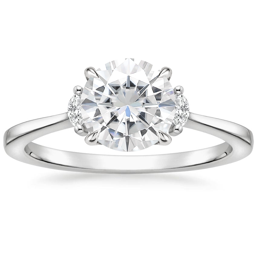 Moissanite Jolie Diamond Ring in 18K White Gold