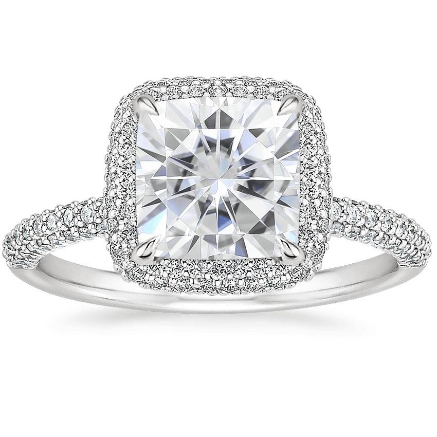 Moissanite Valencia Halo Diamond Ring (1/2 ct. tw.) in 18K White Gold