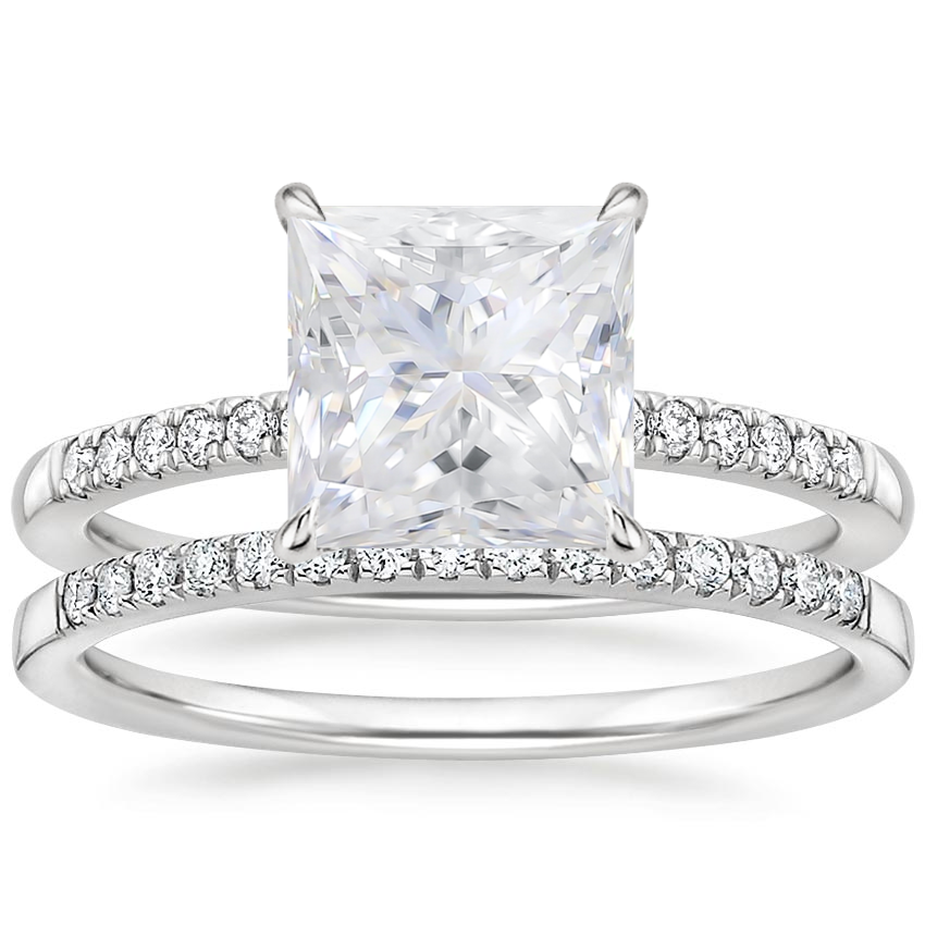 18KW Moissanite Petite Viviana Diamond Bridal Set (1/4 ct. tw.), top view