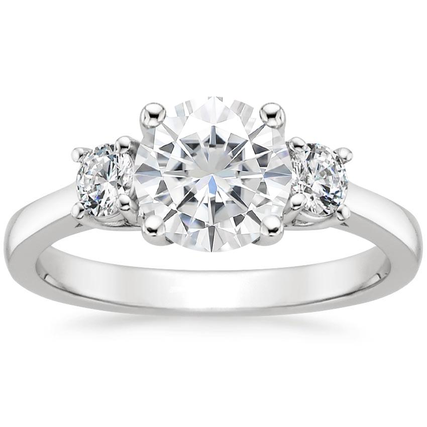 Moissanite Petite Three Stone Trellis Diamond Ring (1/3 ct. tw.) in 18K White Gold