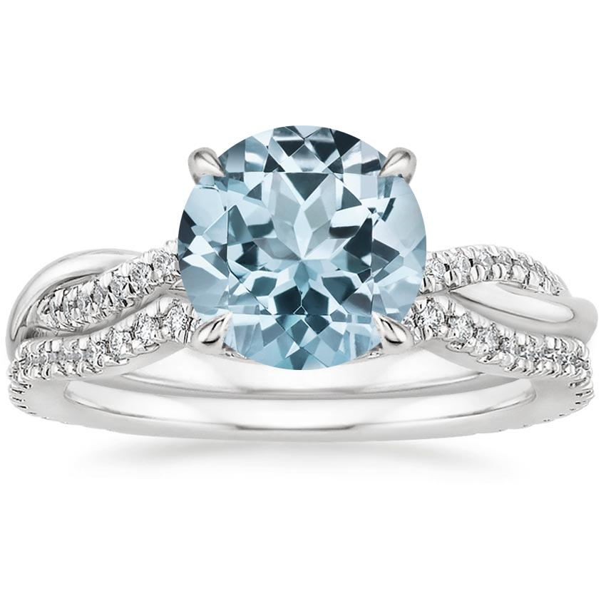 18KW Aquamarine Petite Twisted Vine Contoured Diamond Bridal Set (1/3 ct. tw.), top view