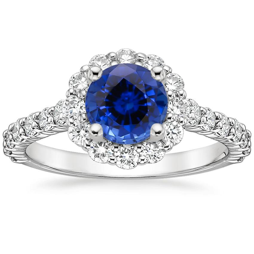 Sapphire Lotus Flower Diamond Ring with Side Stones (3/4 ct. tw.) in Platinum
