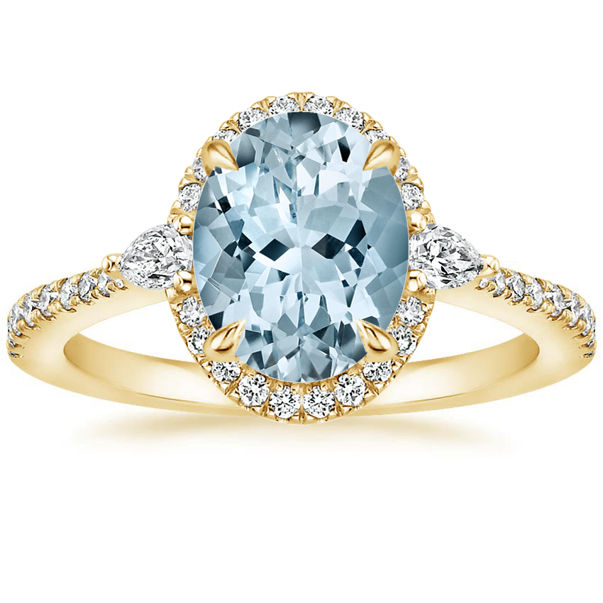 Yellow Gold Aquamarine Luxe Aria Halo Diamond Ring (1/4 ct. tw.)