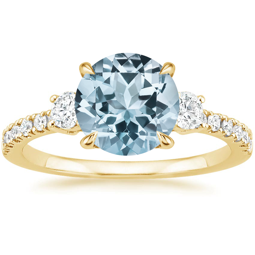 Yellow Gold Aquamarine Radiance Diamond Ring (1/3 ct. tw.)