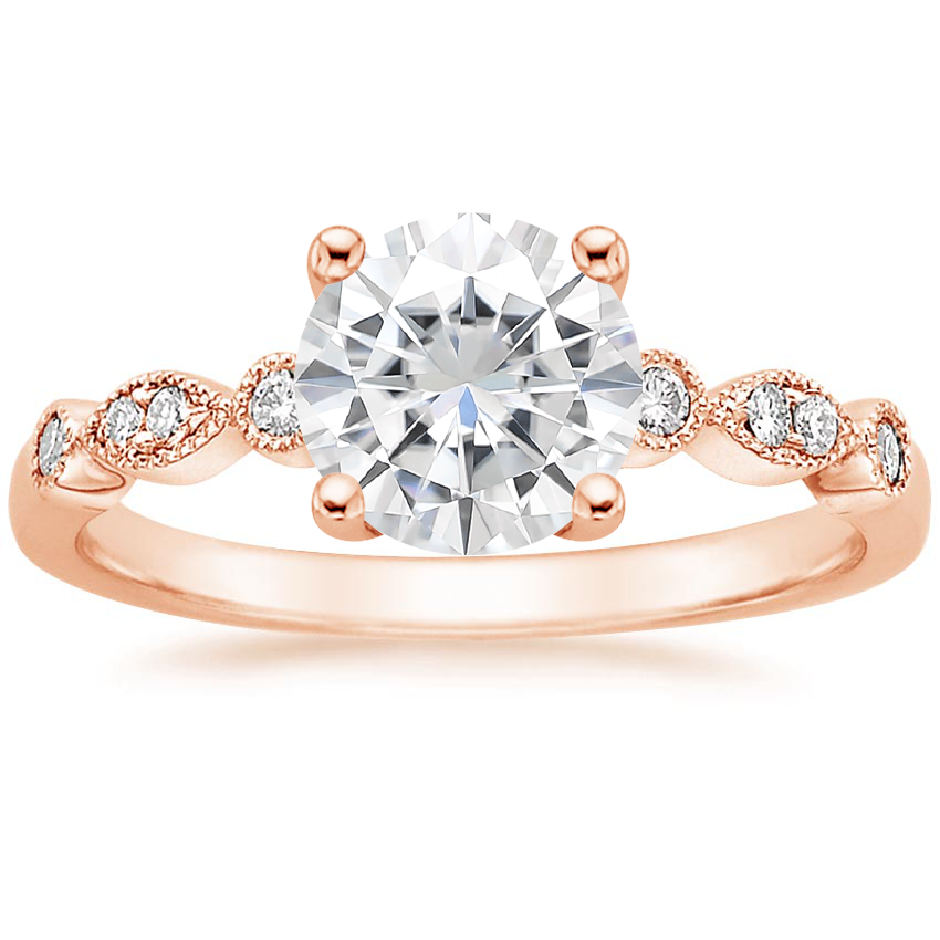 Rose Gold Moissanite Tiara Diamond Ring (1/10 ct. tw.)