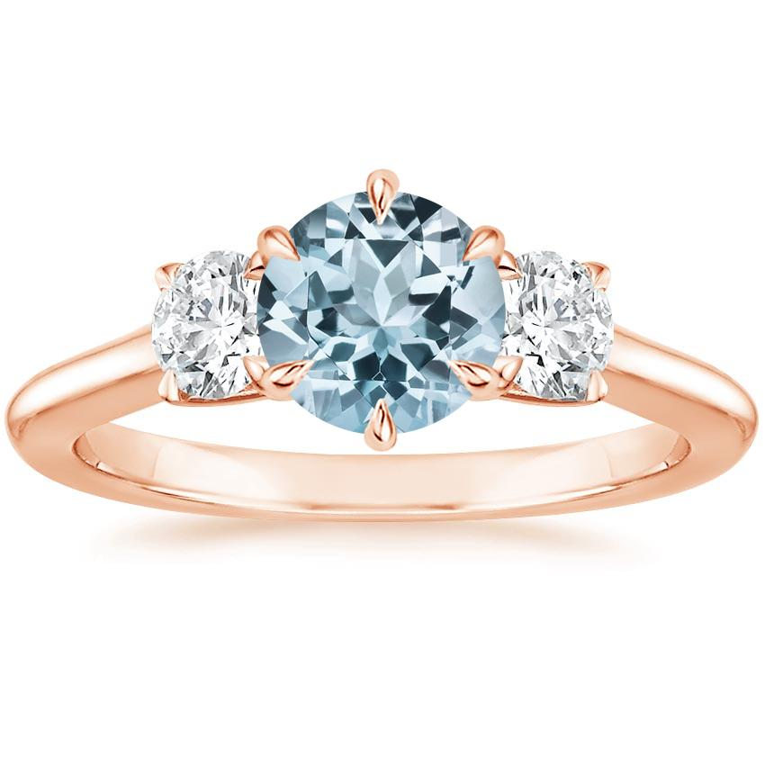 Rose Gold Aquamarine Three Stone Catalina Diamond Ring (1/2 ct. tw.)