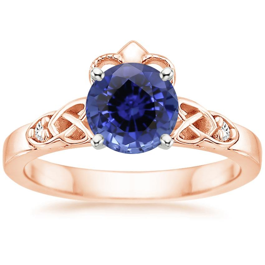 Rose Gold Sapphire Celtic Claddagh Diamond Ring