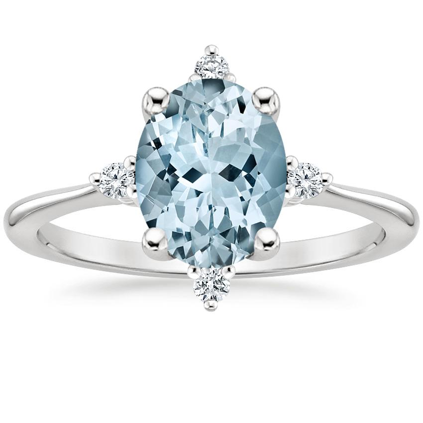 Aquamarine Luminesce Diamond Ring in Platinum