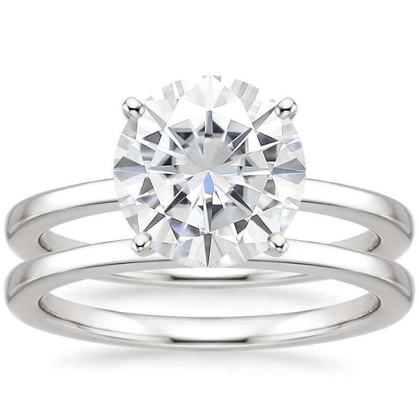PT Moissanite Petite Quattro Bridal Set, top view