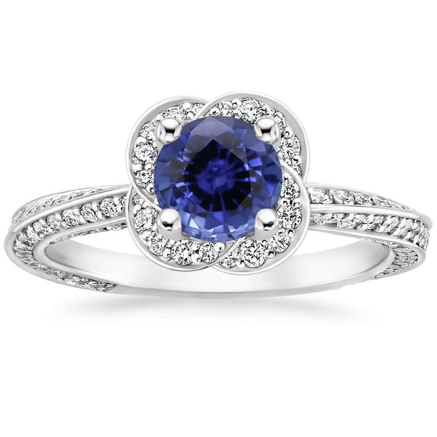 Sapphire Azalea Diamond Ring in 18K White Gold