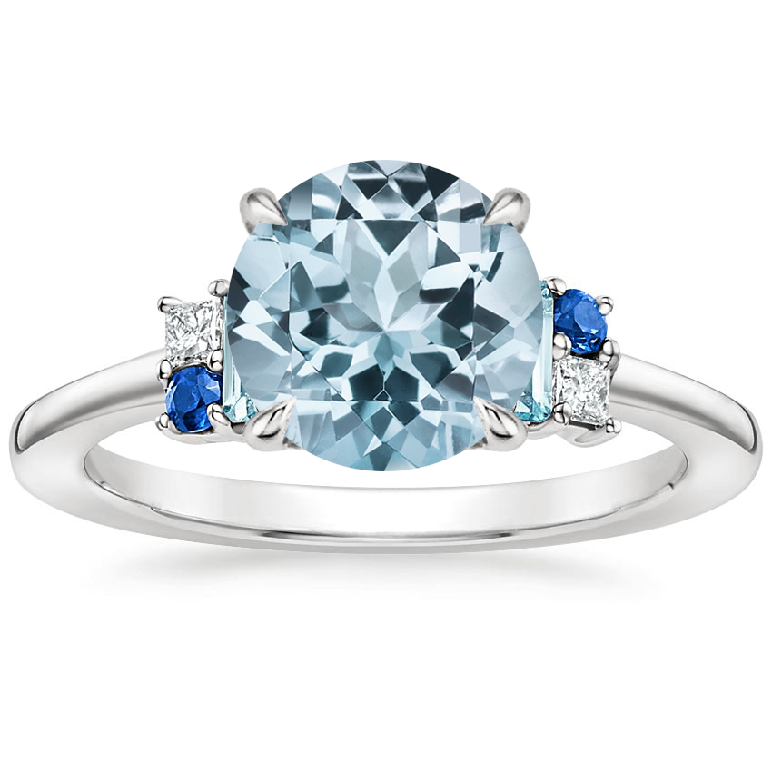 Aquamarine Mazarine Ring in 18K White Gold