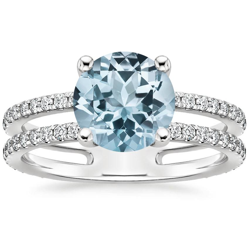 Aquamarine Linnia Diamond Ring (1/2 ct. tw.) in 18K White Gold
