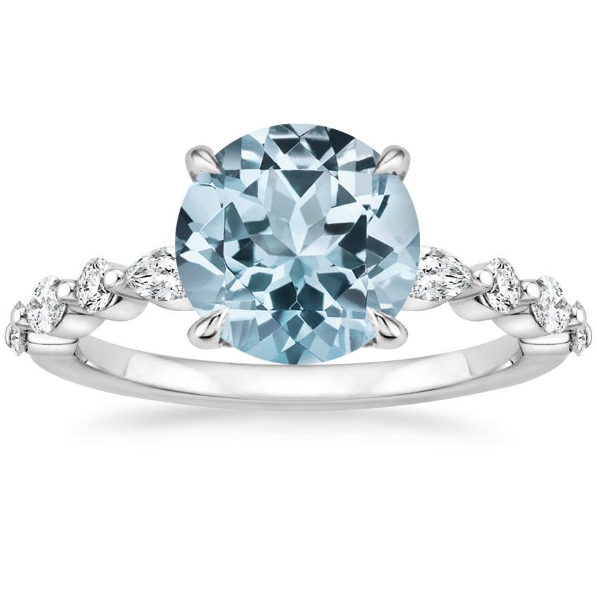 Aquamarine Versailles Diamond Ring (1/3 ct. tw.) in 18K White Gold