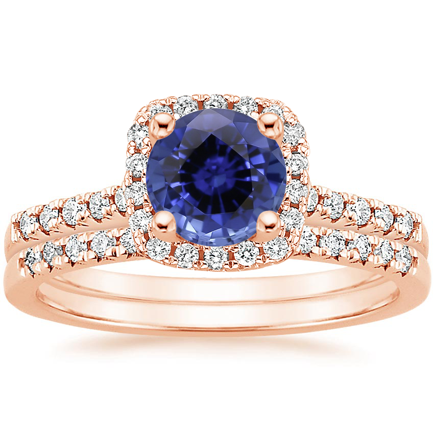 14KR Sapphire Odessa Diamond Ring (1/5 ct. tw.) with Sonora Diamond Ring (1/8 ct. tw.), top view