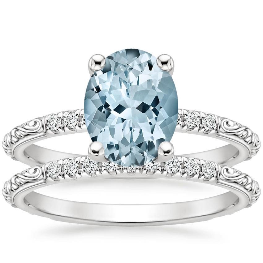 18KW Aquamarine Adeline Diamond Bridal Set, top view