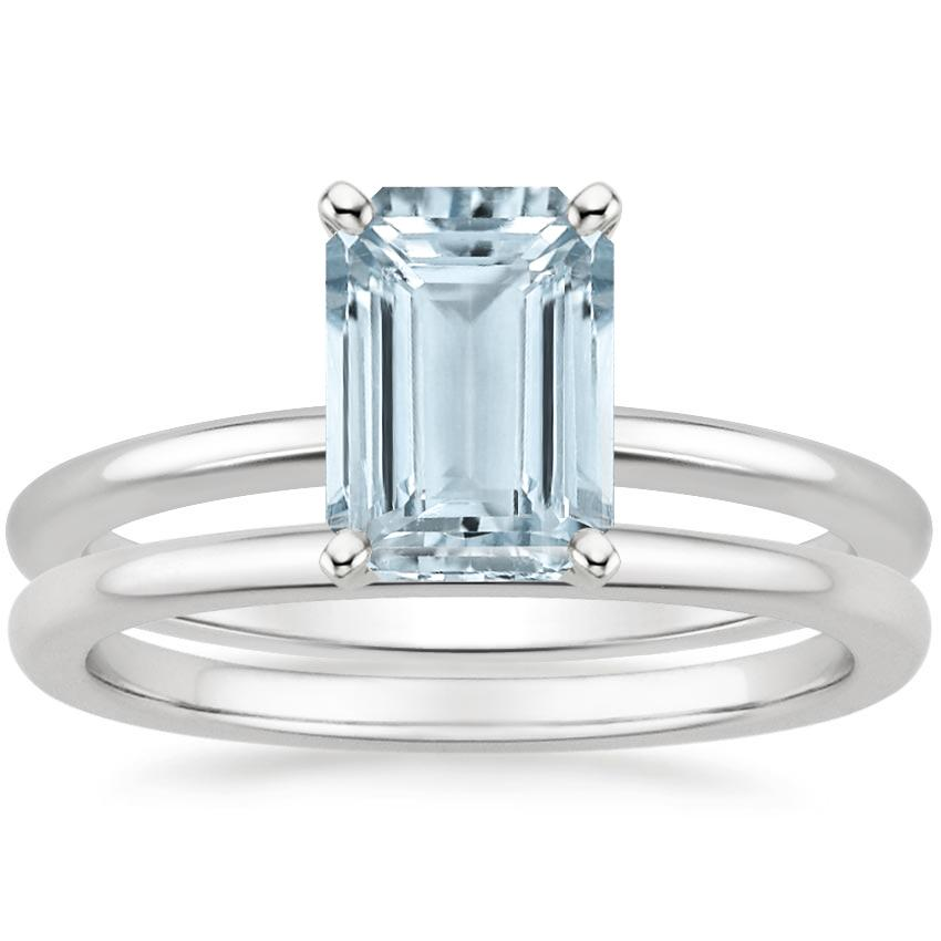 18KW Aquamarine Four-Prong Petite Comfort Fit Bridal Set, top view