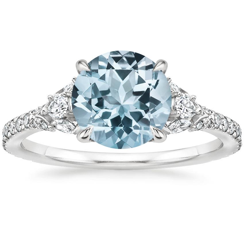 Aquamarine Ava Diamond Ring (1/2 ct. tw.) in 18K White Gold