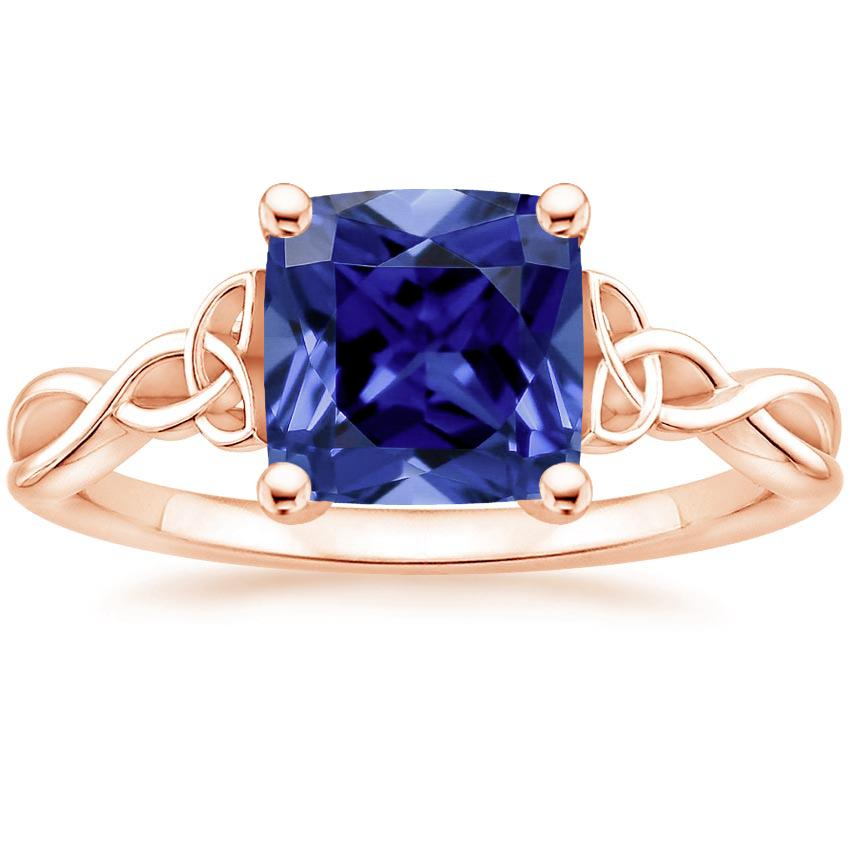 Sapphire Entwined Celtic Love Knot Ring In 14k Rose Gold