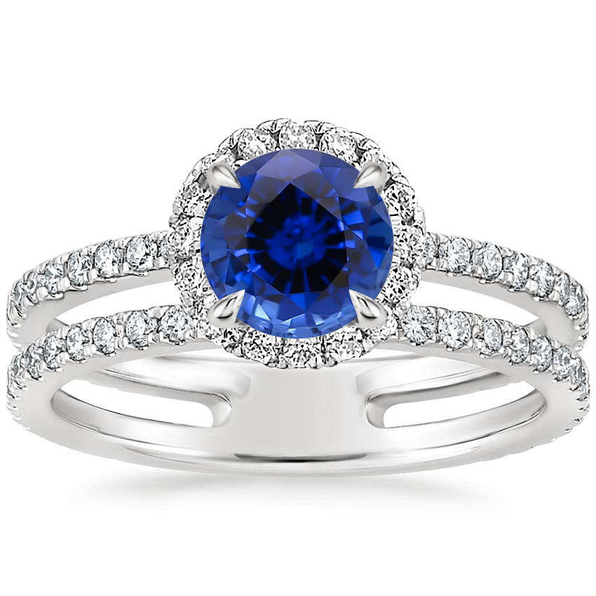 Sapphire Linnia Halo Diamond Ring (2/3 ct. tw.) in Platinum