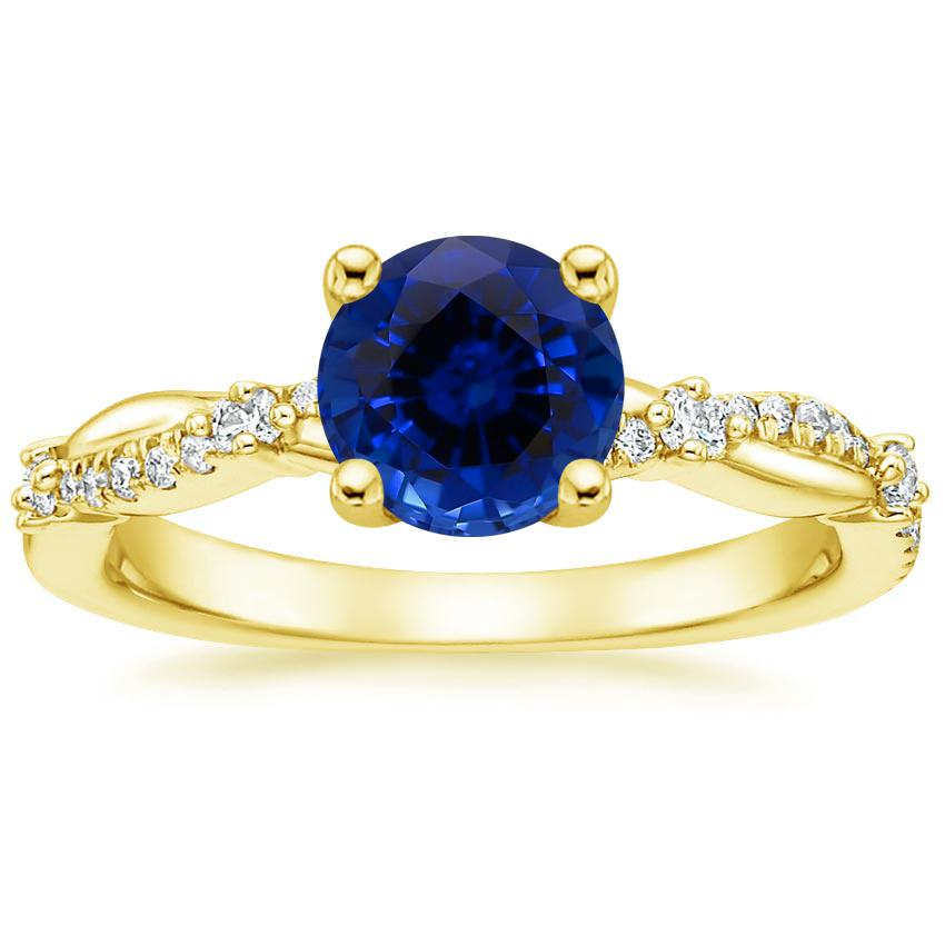 Yellow Gold Sapphire Meadow Diamond Ring