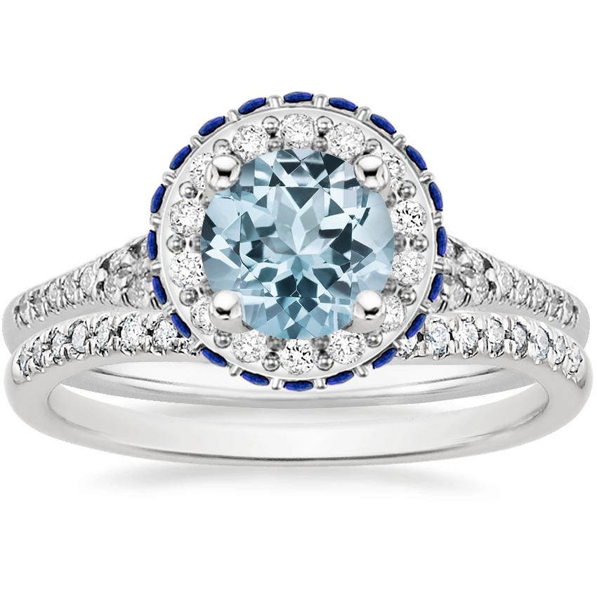 18KW Aquamarine Circa Diamond Bridal Set with Sapphire Accents (1/3 ct. tw.), top view