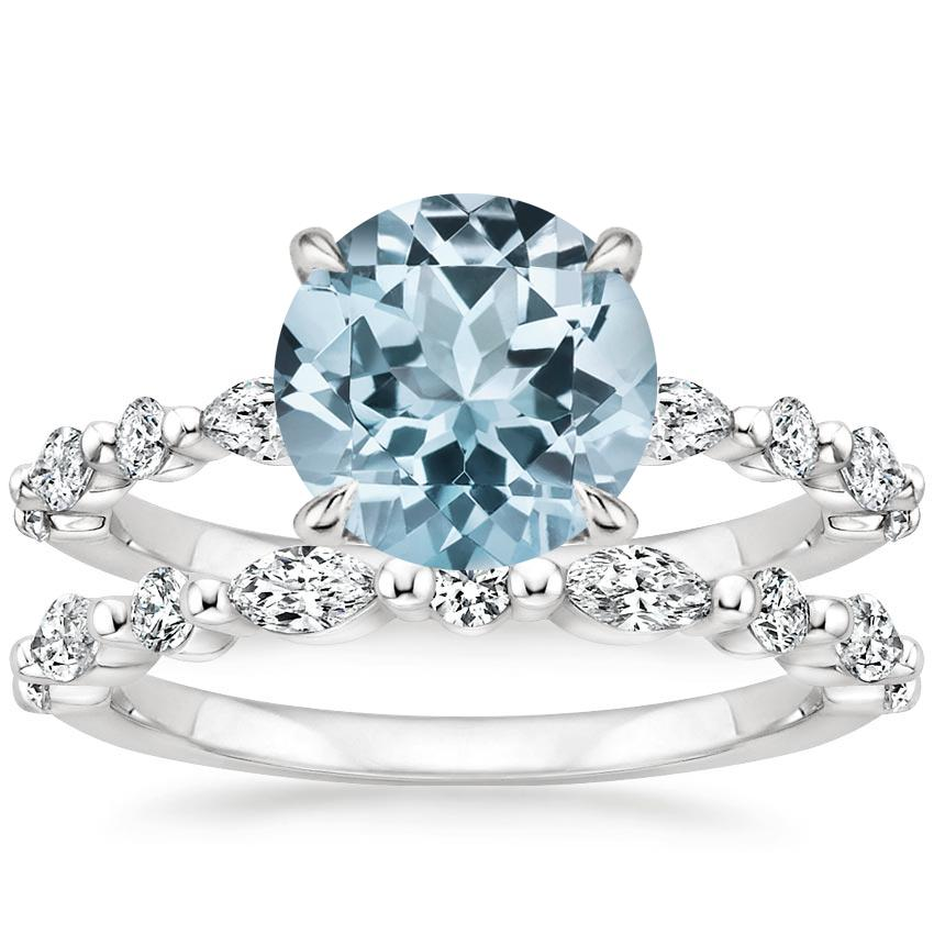 18KW Aquamarine Versailles Diamond Bridal Set, top view