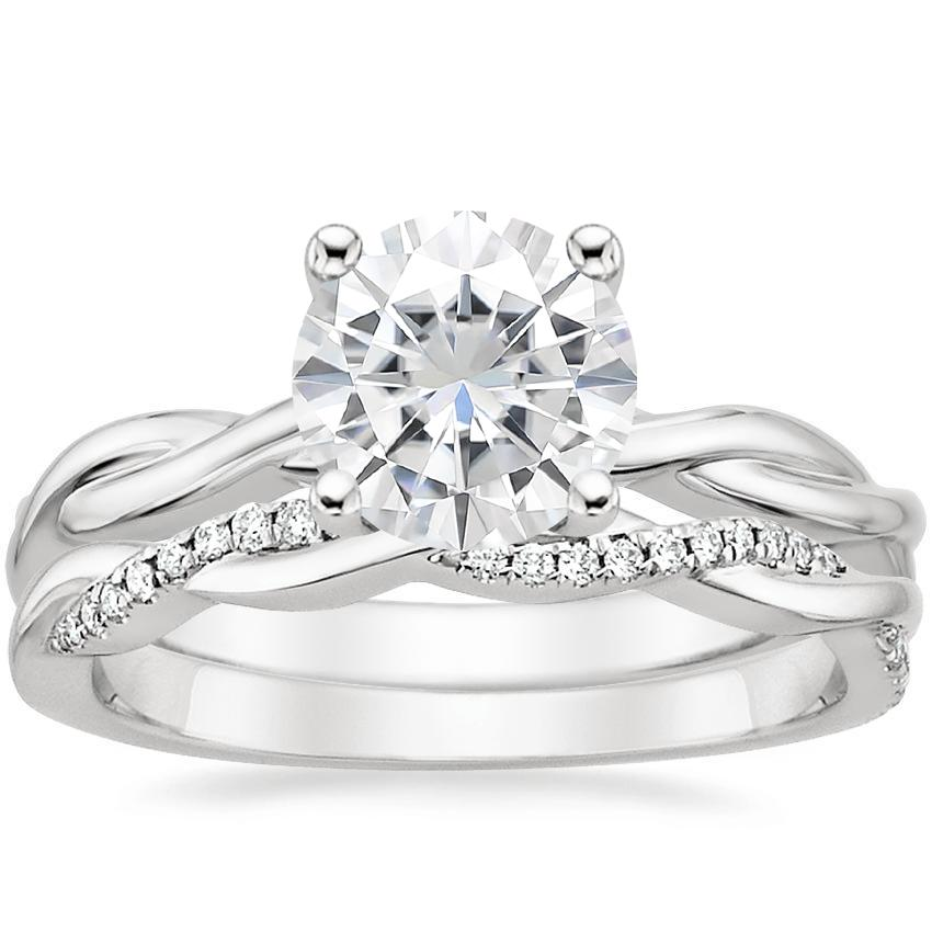 18KW Moissanite Twisted Vine Ring with Petite Twisted Vine Diamond Ring (1/8 ct. tw.), top view