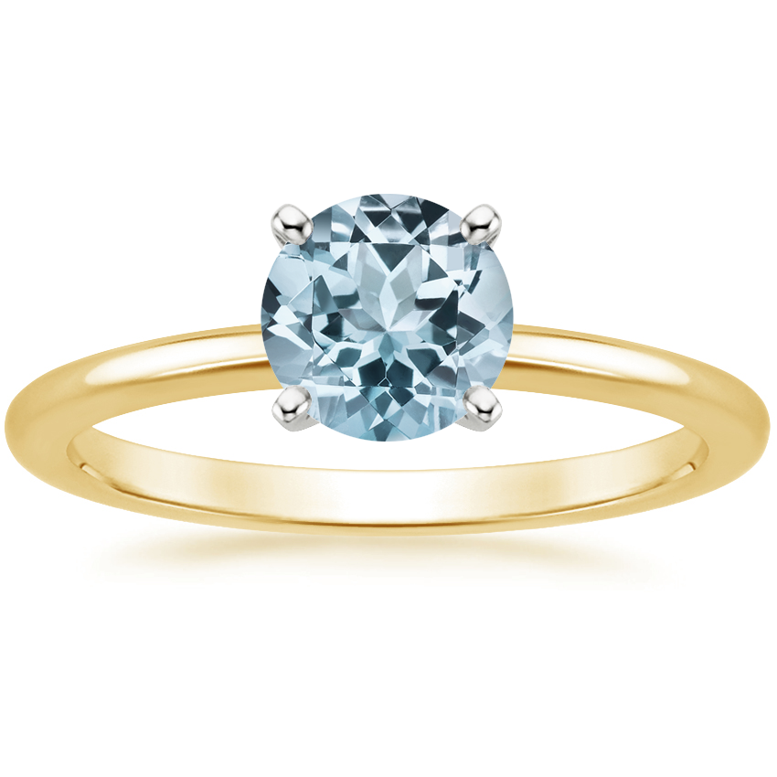 Yellow Gold Aquamarine Four-Prong Petite Comfort Fit Ring