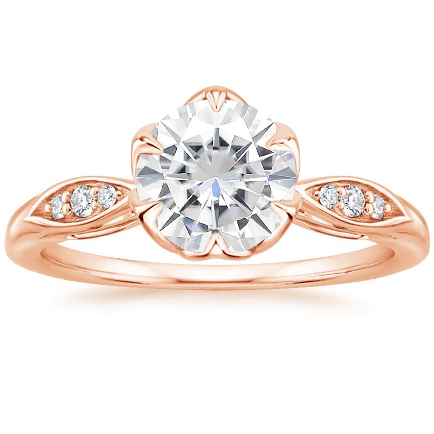 Rose Gold Moissanite Peony Diamond Ring