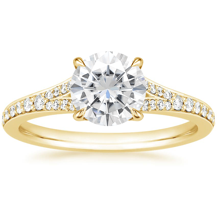 Yellow Gold Moissanite Duet Diamond Ring