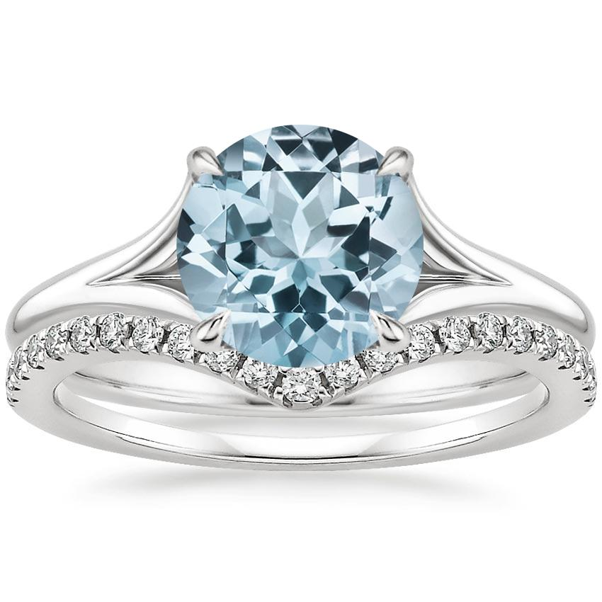 18KW Aquamarine Reverie Ring with Flair Diamond Ring (1/6 ct. tw.), top view