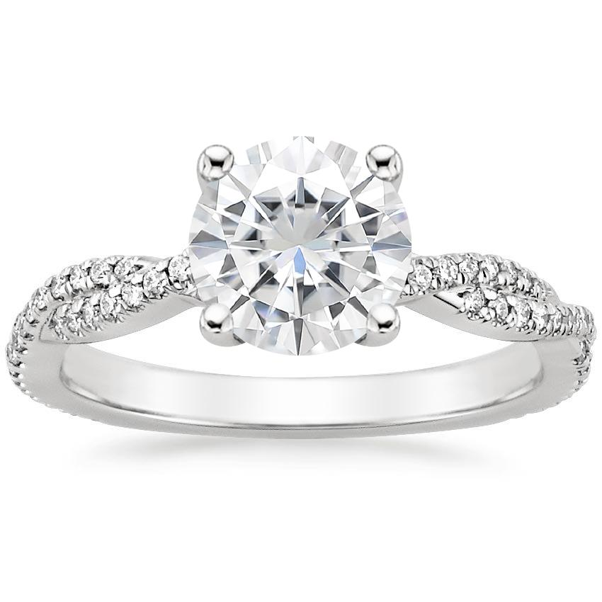 Moissanite Petite Luxe Twisted Vine Diamond Ring (1/4 ct. tw.) in 18K White Gold