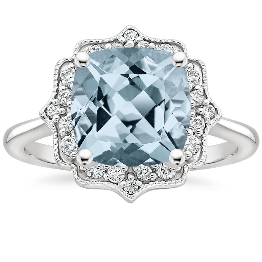 Aquamarine Coralie Diamond Ring in Platinum