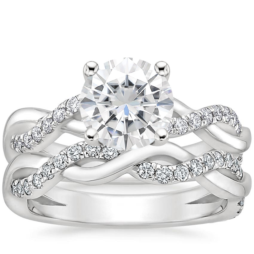 18KW Moissanite Braided Vine Diamond Bridal Set (1/2 ct. tw.), top view