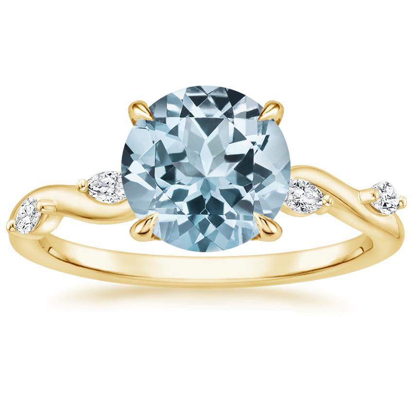Yellow Gold Aquamarine Winding Willow Diamond Ring
