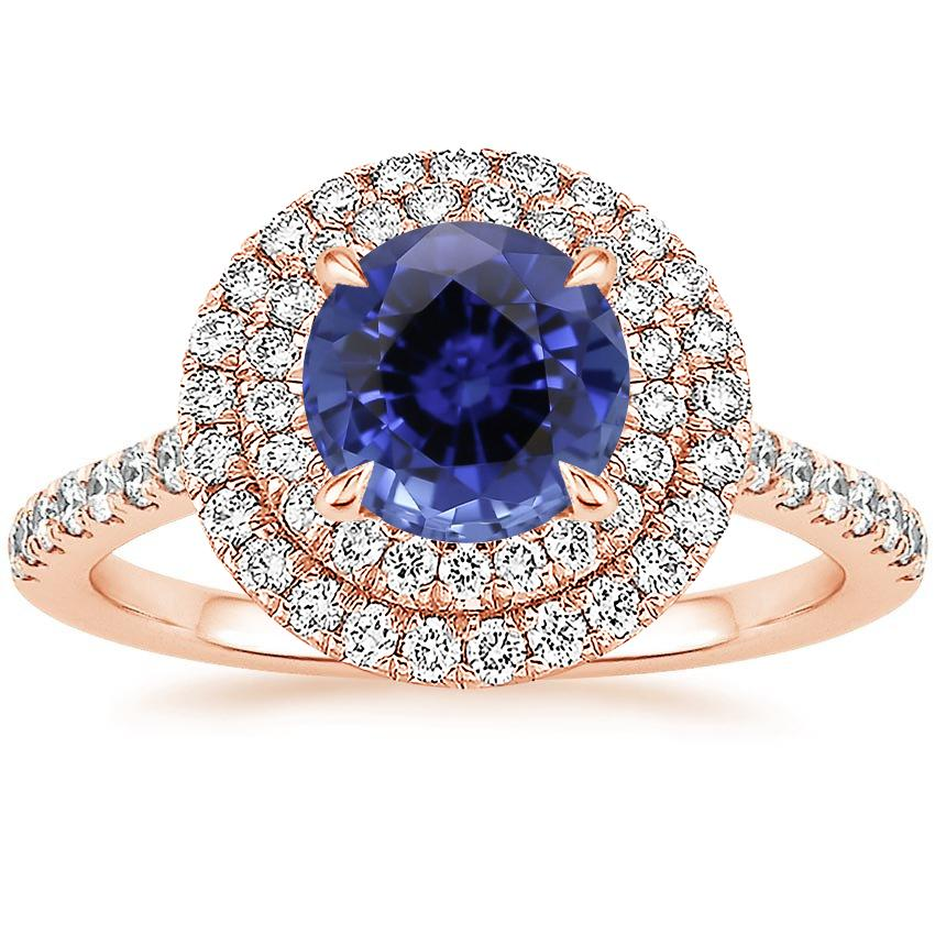 Rose Gold Sapphire Soleil Diamond Ring (1/2 ct. tw.)