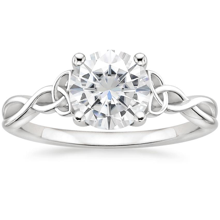 Moissanite Entwined Celtic Love Knot Ring in Platinum