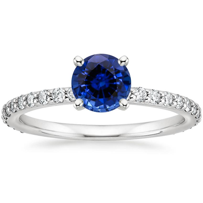 Lab Created Sapphire Luxe Petite Shared Prong Diamond Ring (1/3 ct. tw.) in 18K White Gold