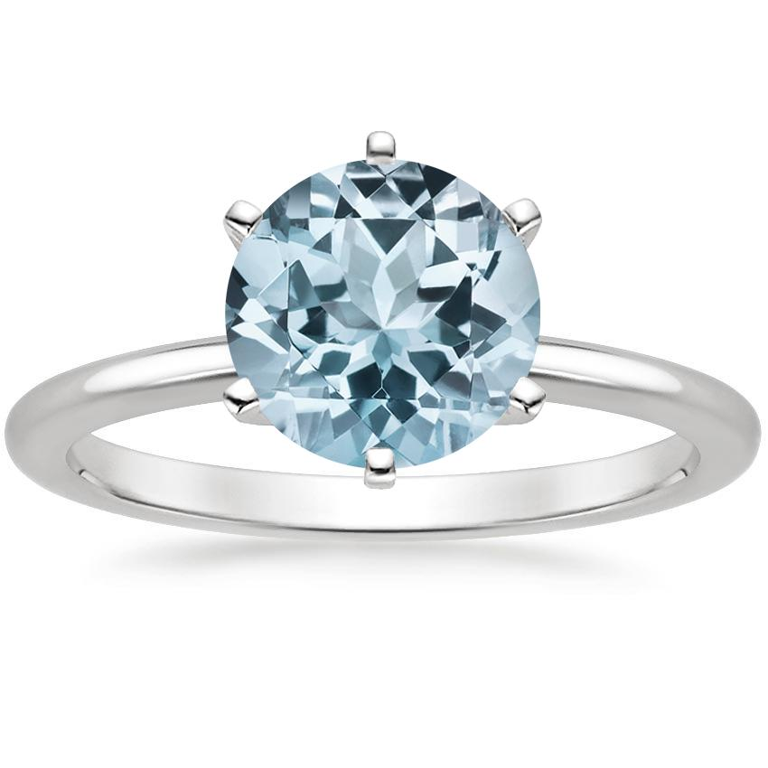 Aquamarine Six-Prong Petite Comfort Fit Ring in 18K White Gold