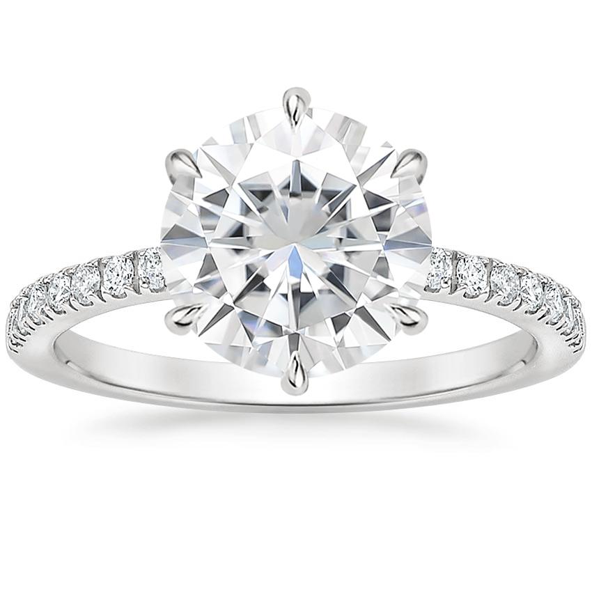 Moissanite Poppy Diamond Ring in Platinum