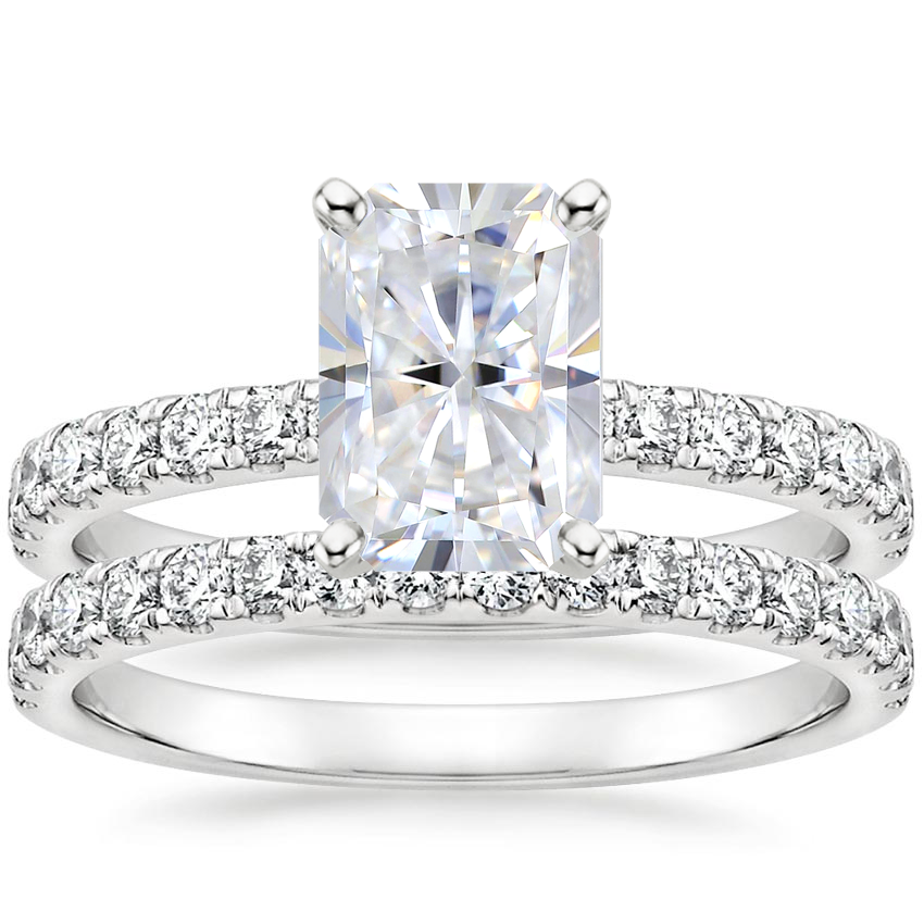 18KW Moissanite Constance Diamond Bridal Set, top view