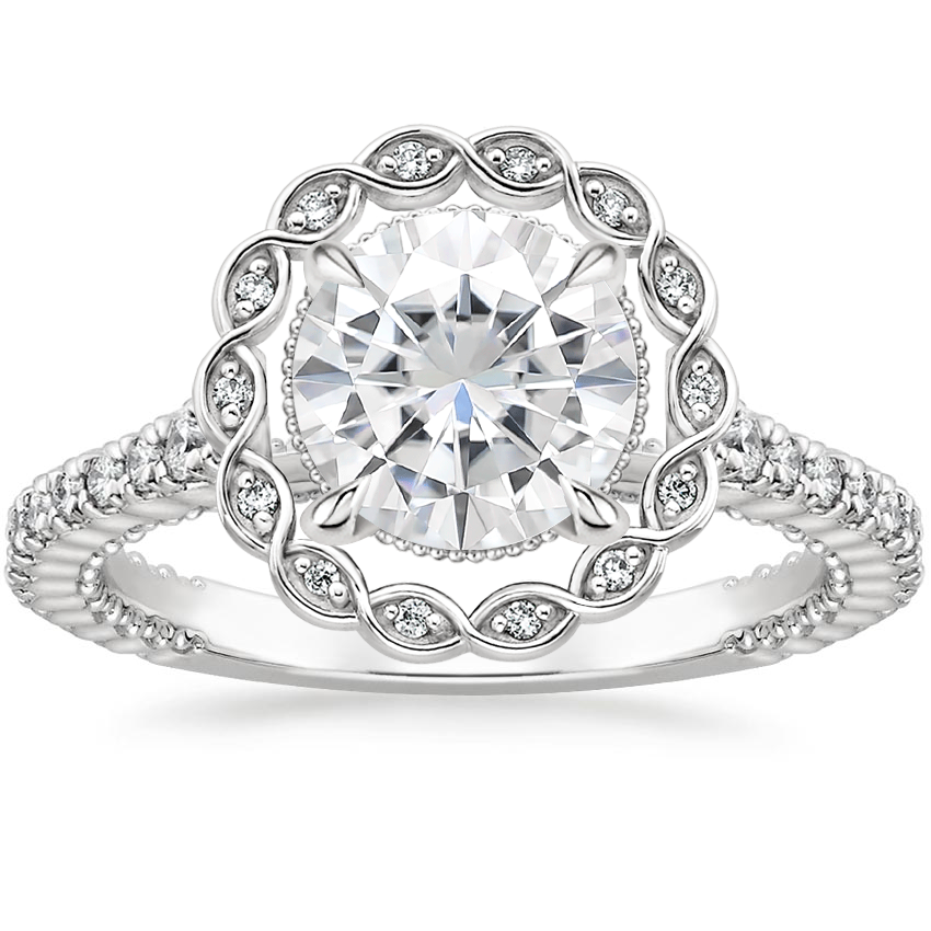 Moissanite Magnolia Diamond Ring (1/3 ct. tw.) in 18K White Gold
