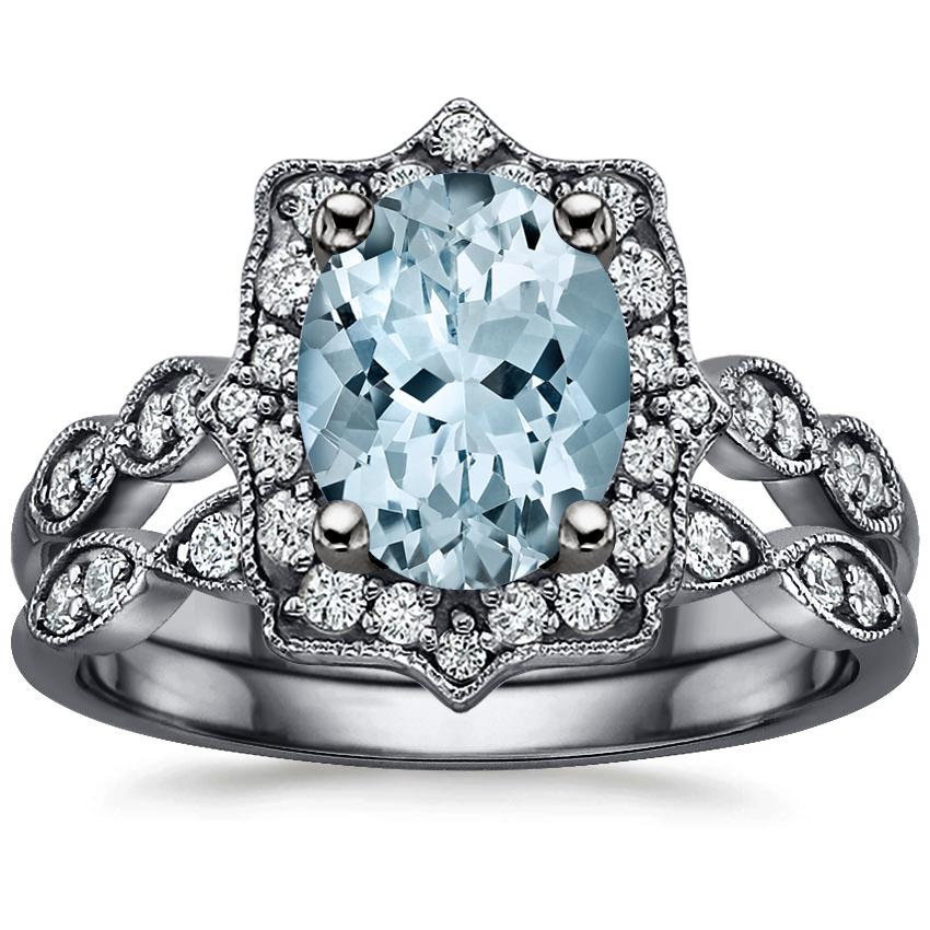 18KW Aquamarine Black Rhodium Cadenza Halo Bridal Set (1/4 ct. tw.), top view